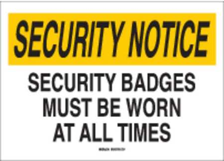 Security Sign, 14 x 20In, BK and YEL/WHT