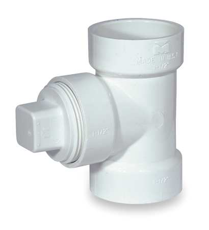 "1-1/2"" Hub x Hub x FNPT PVC Cleanout Tee with Plug"