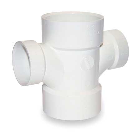 "3"" x 3"" x 2"" x 2"" Hub PVC DWV Sanitary Tee"
