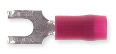 Fork Terminal, Flangd, #6 Stud, Red, PK100
