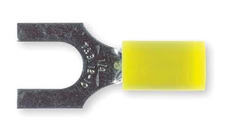 Fork Terminal, Std, 1/4in Stud, Yellow, PK50