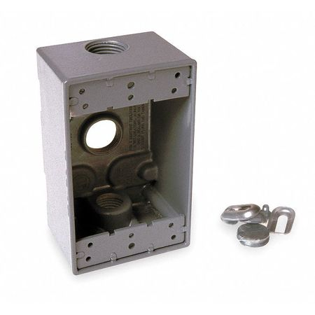 Weatherproof Box, 1Gang, 3Inlet,  Alum