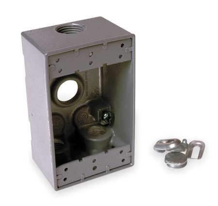 Weatherproof Box, 1Gang, 4Inlet,  Alum