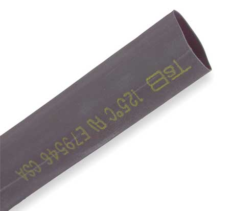 Shrink Tubing, 0.75in ID, Black, 6in, PK10