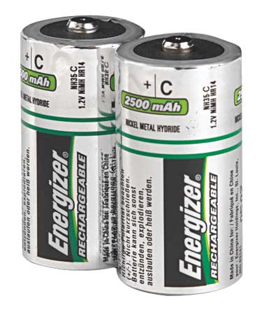 Precharged Recharg Battery, C, NiMh, PK2