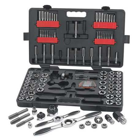 Tap and Die Set, 114 pc, Carbon Steel