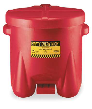 Oily Waste Can, 10 Gal., Poly, Red