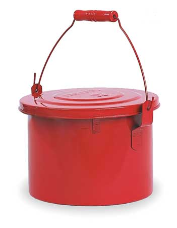 Bench Can, 1-1/2Gal., Galvanized Steel, Red