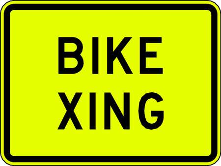 Traffic Sign, 24 x 18In, BK/YEL, Bike Xing
