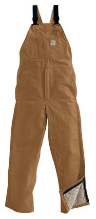 Bib Overalls, Brown, Cotton, 32 x 32 In.