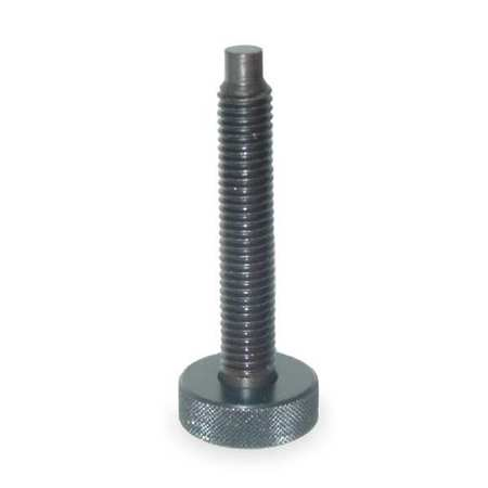 "Dog Point Knurled Head Screw,  Round,  3/8-16 Size,  3.4375""L,  Steel"
