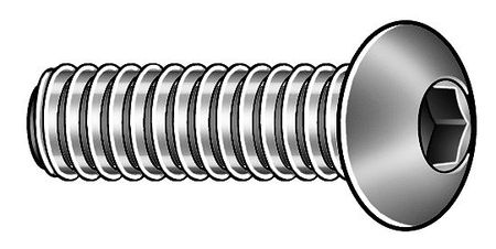 "3/8""-24 x 3/4"" Chrome Low Carbon Steel Button Socket Head Cap Screw,  5 pk."