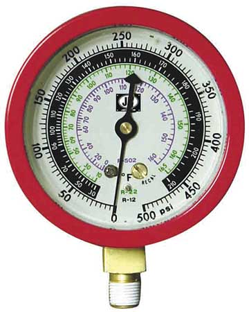 Gauge, 3-1/8 In Dia, High Side, Red, 800 psi