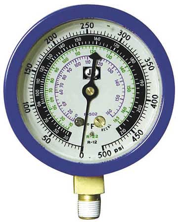 Gauge, 3-1/8 In Dia, Low Side, Blue, 500 psi