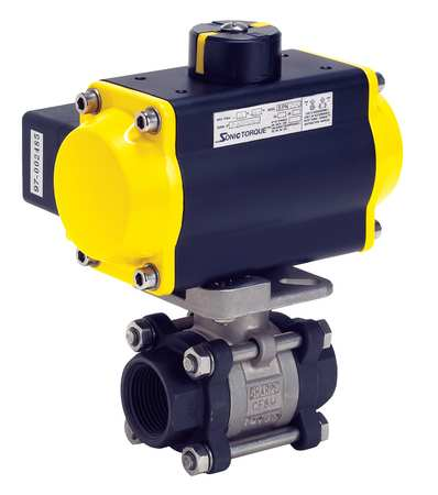 "1-1/4"" FNPT Carbon Steel Pneumatic Ball Valve Inline"
