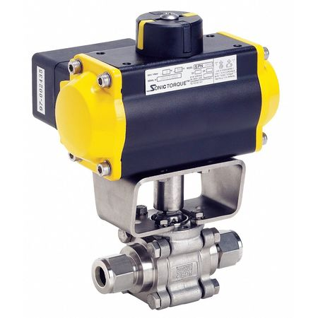 "1/2"" Compr Stainless Steel Pneumatic Ball Valve Inline"