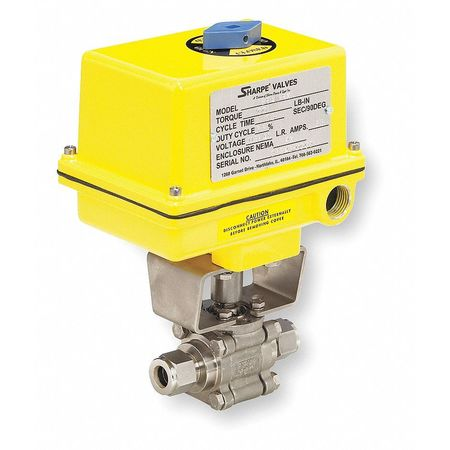 "3/8"" Compr Stainless Steel Electronic Ball Valve Inline"
