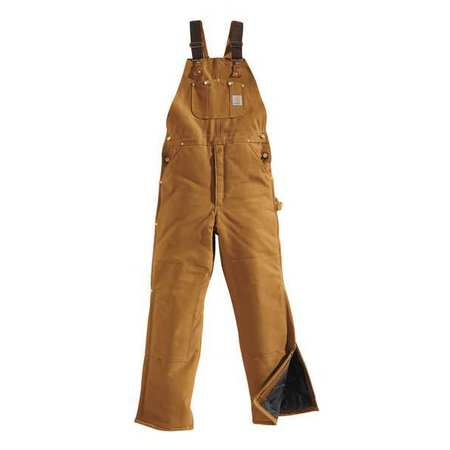 Bib Overalls, Brown, Size 36x30 In