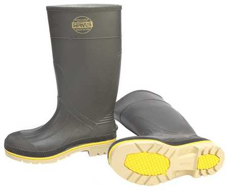 "Knee Boots, Sz 10, 15"" H, Gray, Stl, PR"