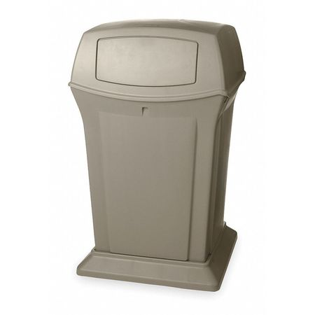45 gal.  Square  Beige  Trash Can w/ Lid