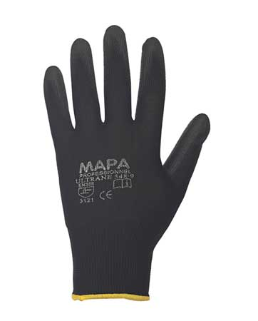 Coated Gloves, 6/XS, Black, PR