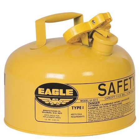 Type I Safety Can, 2 gal, Yellow, 9-1/2In H