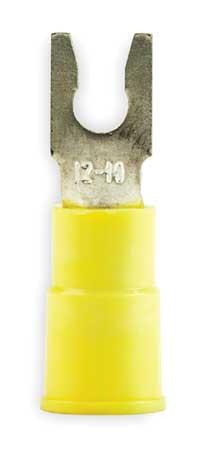 Fork Terminal, Lockng, #6 Stud, Yellow, PK50