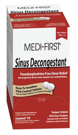 Sinus Decongestant, Tablet, PK100
