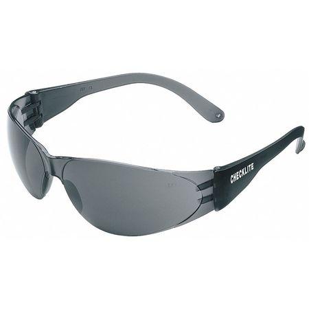 Crews Gray Safety Glasses,  Scratch-Resistant,  Frameless