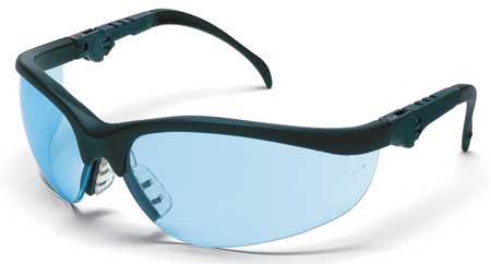 Crews Light Blue Safety Glasses,  Scratch-Resistant,  Half-Frame
