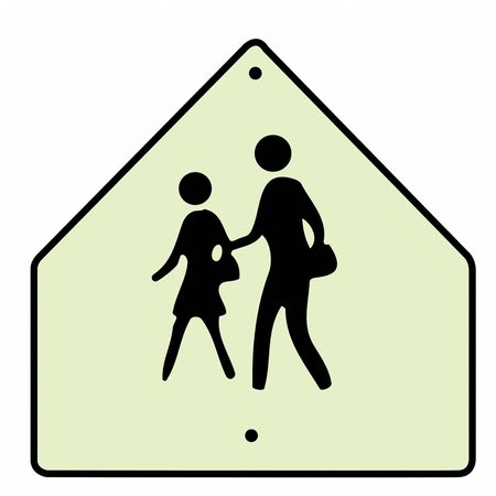 Traffic Sign, 24 x 24In, BK/FLUOR YEL, SYM