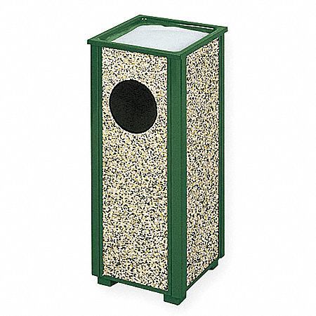 2.5 gal.  Square  Green Trash Can