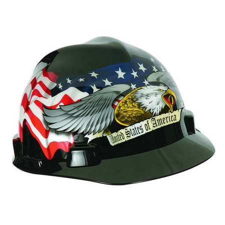 Hard Hat, FtBrm, Slttd, 4Rtcht, Eagle w/Flag