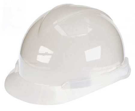 Hard Hat, FrtBrim, Slotted, 4Rtcht, White