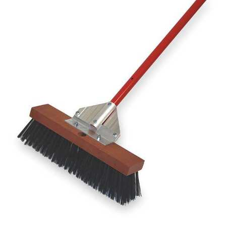 TOUGH GUY Black Steel Push Broom with Handle