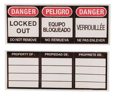 Lockout Label, 1-1/8 In. H, 3 In. W, PK6
