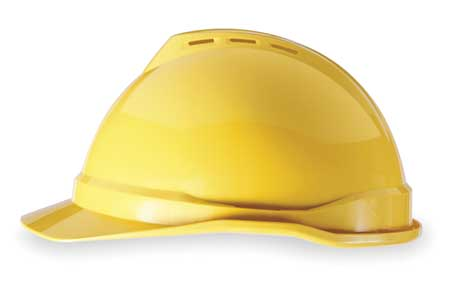 V-Gard Hard Hat, FrtBrim, Slotted, 4Rtcht, Yellow
