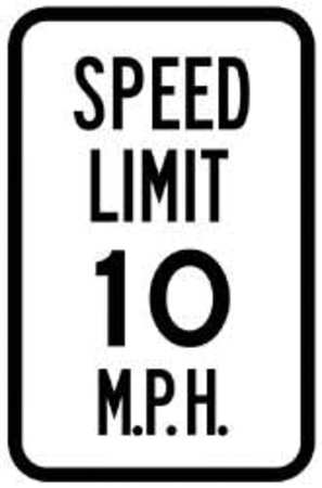 Traffic Sign, 18 x 12In, BK/WHT, SP LIM 10