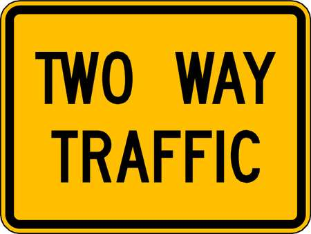 Traffic Sign, 18 x 24In, BK/YEL, 2WAY TRFC
