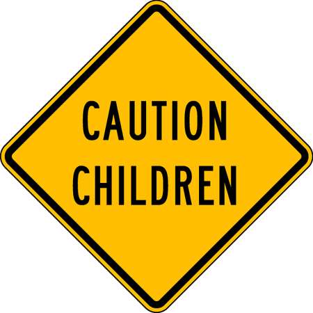 Caution Sign, 24 x 24In, BK/YEL, Text