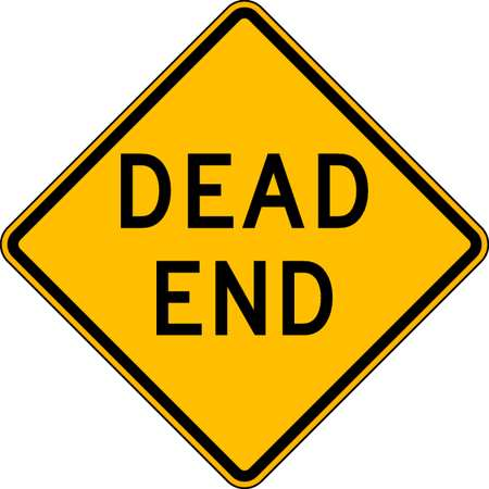 Traffic Sign, 24 x 24In, BK/YEL, Dead End