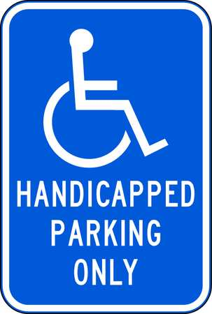 Parking Sign, 18 x 12In, WHT/BL, R7-5HPO