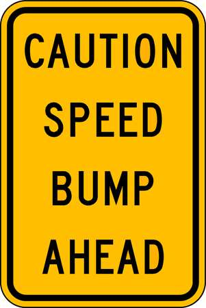 Traffic Sign, 18 x 12In, BK/YEL, Text, MUTCD