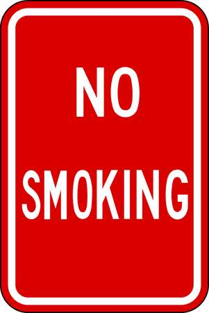 No Smoking Sign, 18 x 12In, WHT/R, BLK, SURF