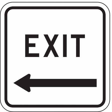 Traffic Sign, 18 x 18In, BK/WHT, Exit, MUTCD