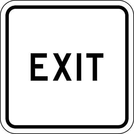 Traffic Sign, 18 x 18In, BK/WHT, Exit, Text