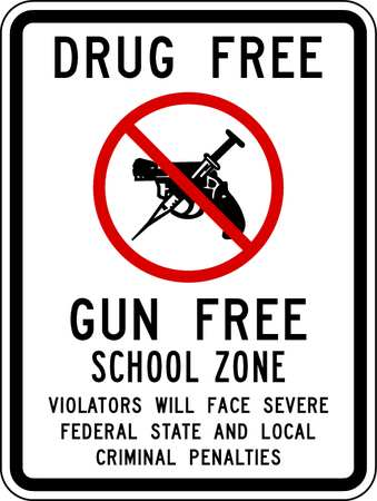 School Zone Sign, 18 x 12In, R and BK/WHT