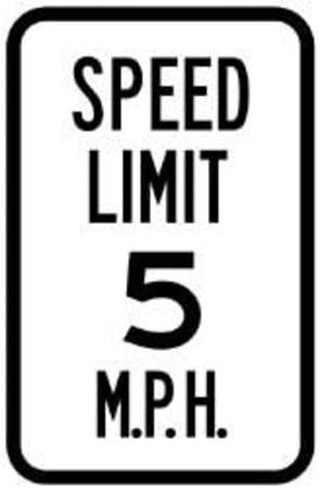 Traffic Sign, 18 x 12In, BK/WHT, SP LIM 5