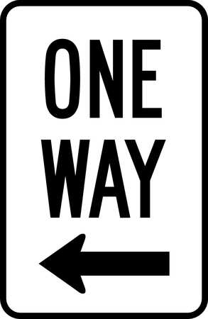 Traffic Sign, 18 x 12In, BK/WHT, OW, R6-2L