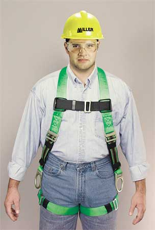 Full Body Harness, L/XL, 400 lb., Green